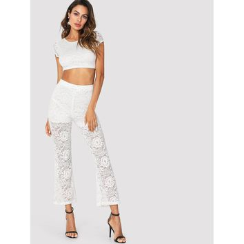 Lace Crop Top And Flare Leg Pants