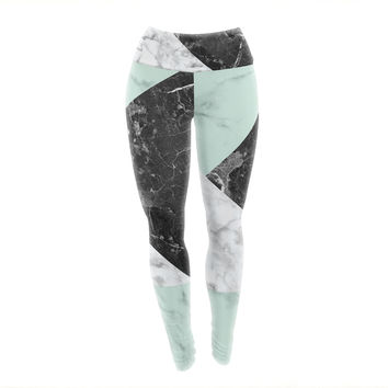 "KESS Original ""Geo Marble and Mint"" Black Art Deco Yoga Leggings"