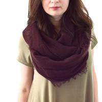 Infinity Fringed Scarf, Fashion Infinity Scarf, Woman Scarf, Spring Summer Scarf, Gift