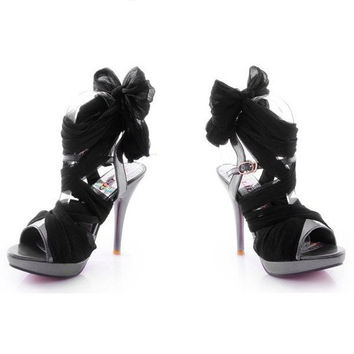High Heel Chiffon Lace Up Sandals for Women FDH061626 Black