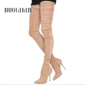 c8d78768f80 2018 Brand Stretch Suede Leather Thigh High Heels boots Women Wi