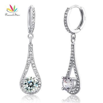 Peacock Star 1 Carat Round Cut Solid 925 Sterling Silver Bridal Wedding Dangle Earrings Jewelry CFE8019