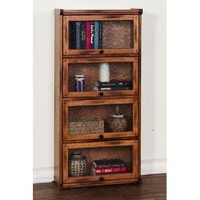 Sunny Designs Sedona 4 Stack Lawyer's Bookcase In Rustic Oak