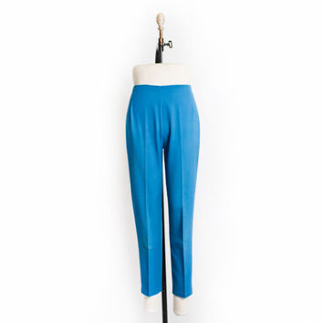 Vintage 60s Pants - High Waisted Blue Cotton Pin Up Slacks Cigarette Pants 1960s - Small