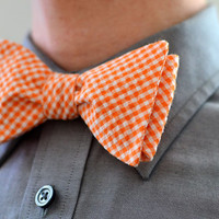 Men's Bow Tie in Orange Check -  wedding groomsmen ties self tie freestyle adjustable checked plaid