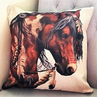 """Ceremonial War Paint"" by Artist Laurie Prindle Cotton Linen Pillow"