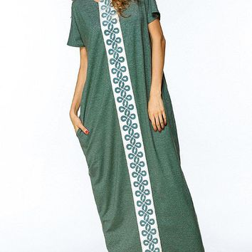 Casual Loose Embroidered Short Sleeve O-neck Women Maxi Dress