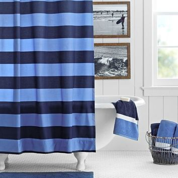 Rugby Stripe Shower Curtain, Navy/Blue