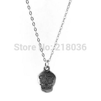 Vintage Silver Sugar Skull Charms Statement Choker Chain NecklaceFor Women