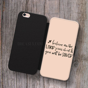 Wallet Leather Case for iPhone 4s 5s 5C SE 6S Plus Case, Samsung S3 S4 S5 S6 S7 Edge Note 3 4 5 Quotes Bible Verses Cases