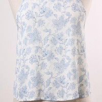 Woven Blue Floral Crop Top