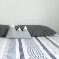 the Sisters - light grey + aqua wool mountain pillow