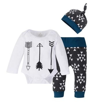 2017 Autumn arrow painted Newborn Baby Boy Clothes long Sleeve Cotton T-shirt Tops +Pant 3PCS Outfit Toddler Clothing Set
