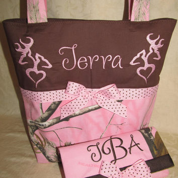 FREE SHIPPING Custom Handmade pink and brown realtree camo camouflage heart buck doe deer purse & wallet you choose name
