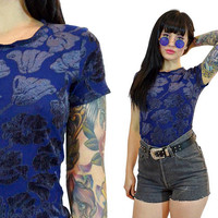 vintage 90s floral velvet burnout tshirt soft grunge royal blue shirt top cyber grunge goth minimalist new wave 1990s small