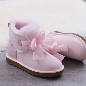 Ugg winter bow-knot boots women's pink shoes