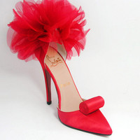Christian Louboutin Eugenie Red Satin Pump
