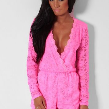 Ibiza Neon Pink Lace Wrap Plunge Playsuit | Pink Boutique