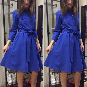 Blue Long Sleeve Belted A-Line Midi Skater Dress