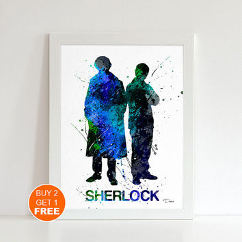Sherlock Holmes watercolor illustration art print, Sherlock Holmes art, Sherlock Holmes print, movie art, movie art, Cult Movie, Fan Art