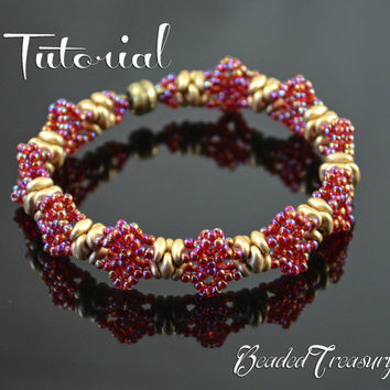 Mademoiselle - beaded lace bracelet tutorial, superduo bead pattern, seed beads pattern, beading pattern / TUTORIAL ONLY