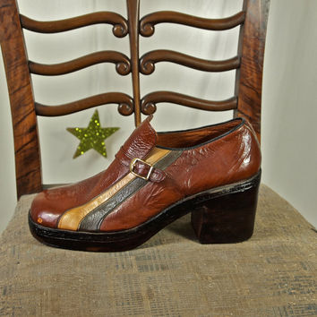 70's Platform Shoes Men's Brown and Tan Racing Stripes Patent Leather Platform Disco Shoes Made in Lebanon Size 42/43