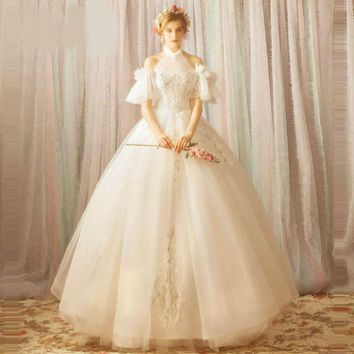 Backless Wedding Dress Halter Collar Lace Up Floor Length Party Bride Gown