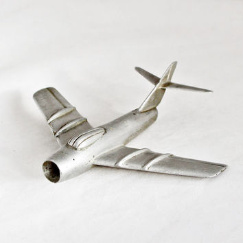 1950s Vintage Art Deco Airplane Mig 17 Soviet Aircraft Metal Industrial Home Decor