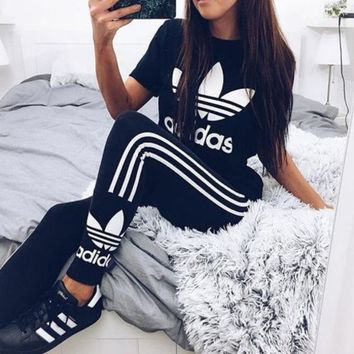 Women Fashion Adidas Print Stretch Exercise Fitness Pants Trousers Leggings Sweatpants Shirt Top Tee F-2
