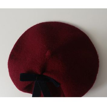Wool Beret with Velvet Ribbon - 2 Colors