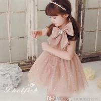 Hot sell summer New Children princess dress sweet Bow sequins tulle tutu dress for girls kids vest party dress children clothes A6134
