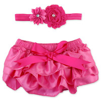 Ruffly Rumps By RuffleButts® 2-Piece Diaper Cover & Headband Set in Pink Satin