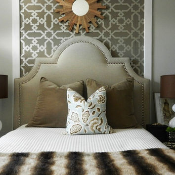 Custom made Upholstered 'Sunrise' Headboard with hand applied nailheads - your choice of size - DELUXE SERIES