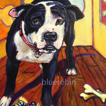 The Dog's House Oil Painting Portrait of Bulldog in his house