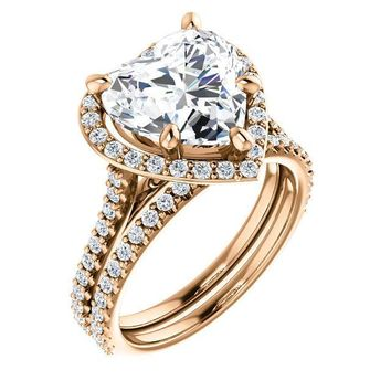 Heart Moissanite Diamond Accent Ice Halo Bezel Ring