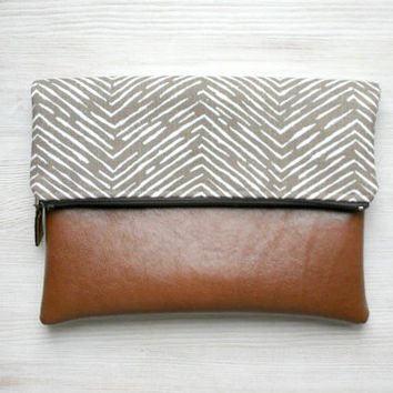 Chevron Fold over clutch vegan leather brown