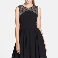 Way-In Embellished Yoke V-Back Fit & Flare Dress (Juniors) (Online Only)