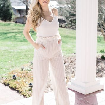 Playa del Amor Striped Jumpsuit, Natural