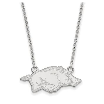 NCAA 10k White Gold U of Arkansas Small Pendant Necklace