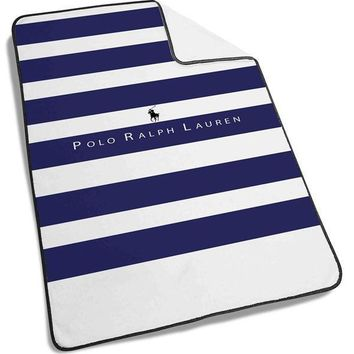 Polo Ralph Lauren Blue White Stripes Blanket