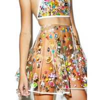 POLLY PVC PLEATED SKIRT WITH FANNY PACK