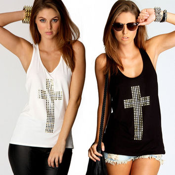 Fashion rhinestones cross street open back sexy low cut tops woman o-neck slim vest basic shirt tank top for women