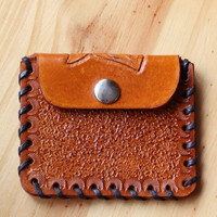 Hand Carved Leather Coin Purse, Handmade Floral Purse, Hand Tooled Leather Purses, Hand Laced Small Purse, Tinas Leather Crafts