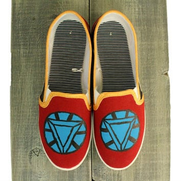 Iron Man Painted Shoes - Womens