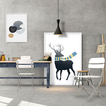 Modern Fashion Colorful Deer Composition Poster A4 Print Wall Picture Shop Living Room Home Decorative Art Canvas Painting AN009