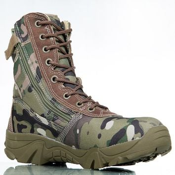 Outdoor Sport Army Men's Tactical Boots Camo Male Combat Shoes Military leather Boots Enthusiasts Marine Shoes