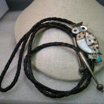 Vintage Sterling Silver Southwestern/Native American Iinlaid Owl Bolo Tie with Turquoise, MOP, Onyx, Tiger Cowry Shell Black Braided Ties, with Capped Ends