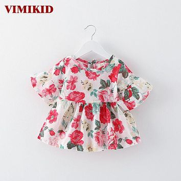 VIMIKID 2017 new summer baby girl dress o-neck half lantern sleeve floral dresses Children's clothing cotton toddler dress