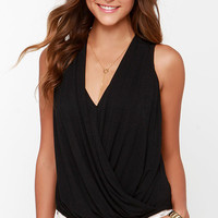 Twist and Make Up Black Tank Top