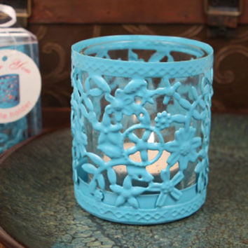 """Glowing Garden"" Blue Steel Candle Holder with Glass Cup and Tea Light Candle"